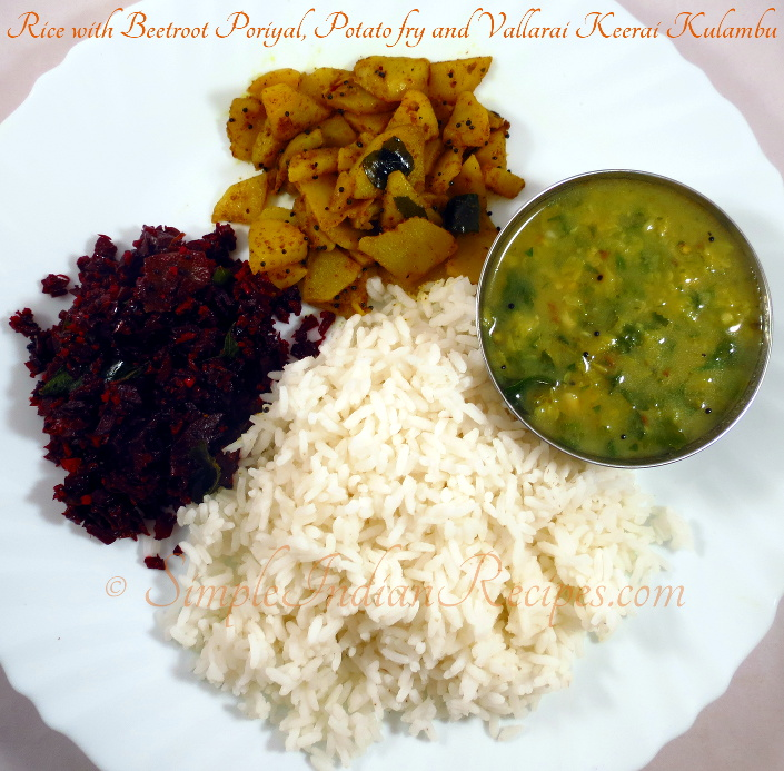 Rice with Beetroot Poriyal