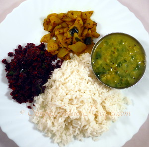 Rice with beetroot fry, potato fry, vallarai keerai kulambu
