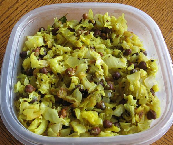 Cabbage and Black Chikpeas Poriyal