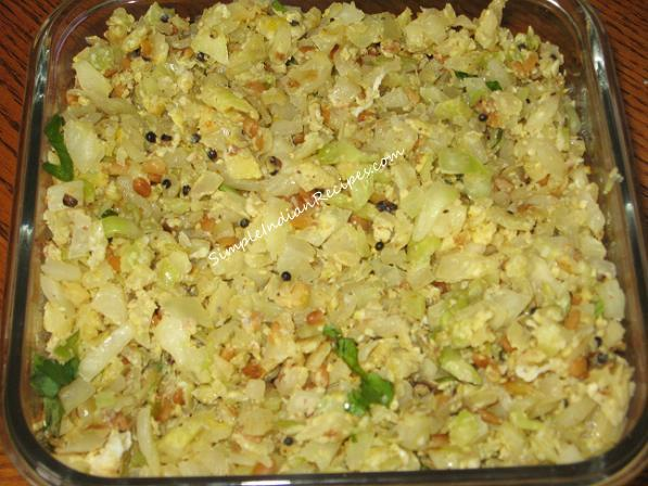 Cabbage Poriyal with no turmeric and egg added at the end