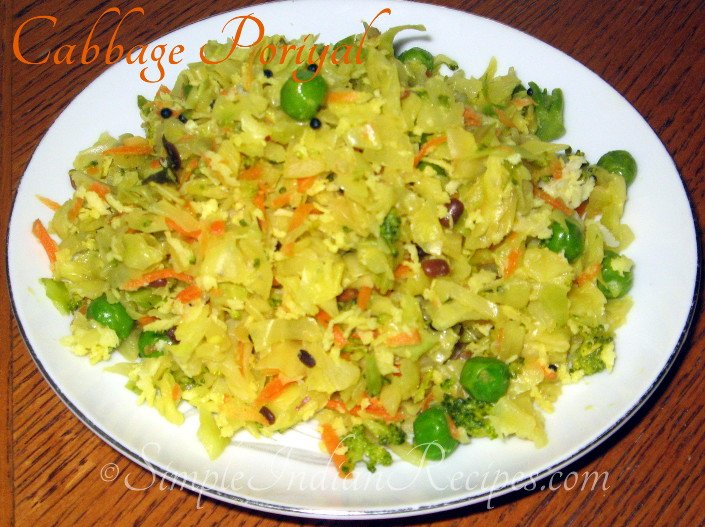 Cabbage Poriyal with carrot, broccoli and green peas
