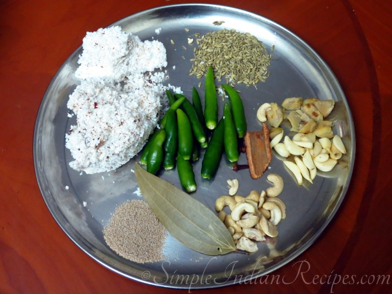 Chicken Kurma Ingredients