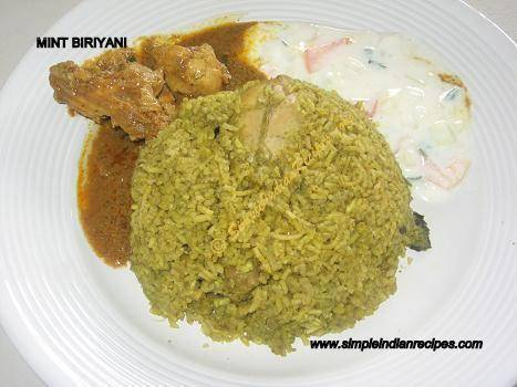 Mint Chicken Biryani without tempering
