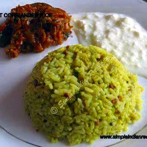 Mint Coriander Rice with Raita and Bhindi Do Pyaza