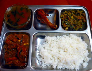 Rice, Chicken Curry, Chicken roast, Capsicum Poriyal and Tomato Rasam