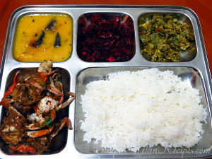 Rice, Crab Fry, Dal Curry, Spinach Poriyal and Capsicum Bhurjee