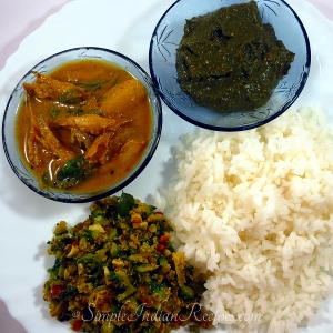 Rice, Fish Curry, Broccoli Poriyal and Pulicha Keerai Chutney