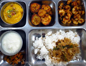 Rice with Shrimp Fry, Onion Theeyal, Raw Banana Fry, Curd / Yogurt, Mango Pickle and Aamras