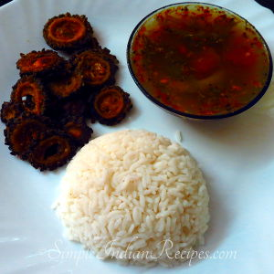 Rice with bittergourd fry and rasam
