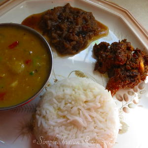 Rice, Chicken Bartha, Sambhar and Brinjal Gojju