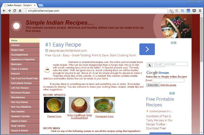 Simple Indian Recipes - History - version 1.0