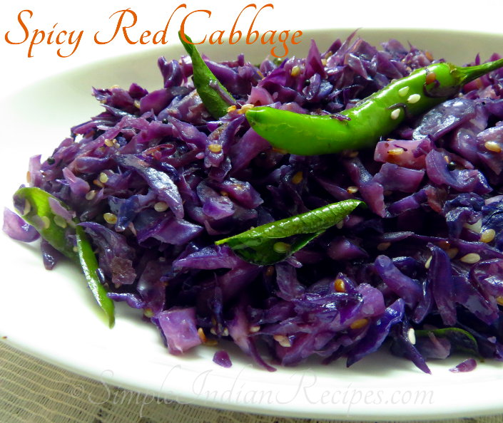Spicy Red Cabbage Sabzi Cabbage Stir Fry Simple Indian Recipes