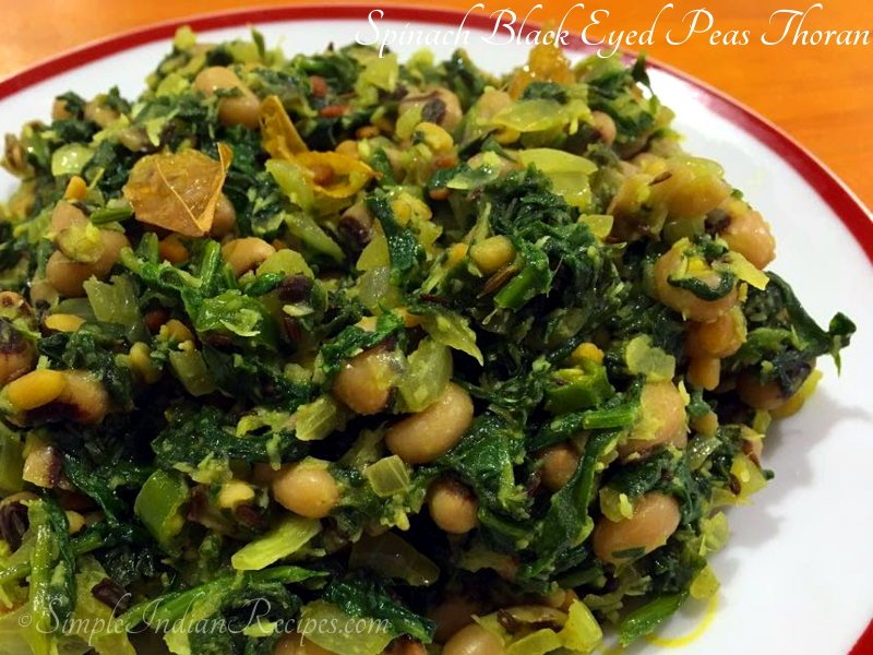 Spinach Black Eyed Peas Thoran