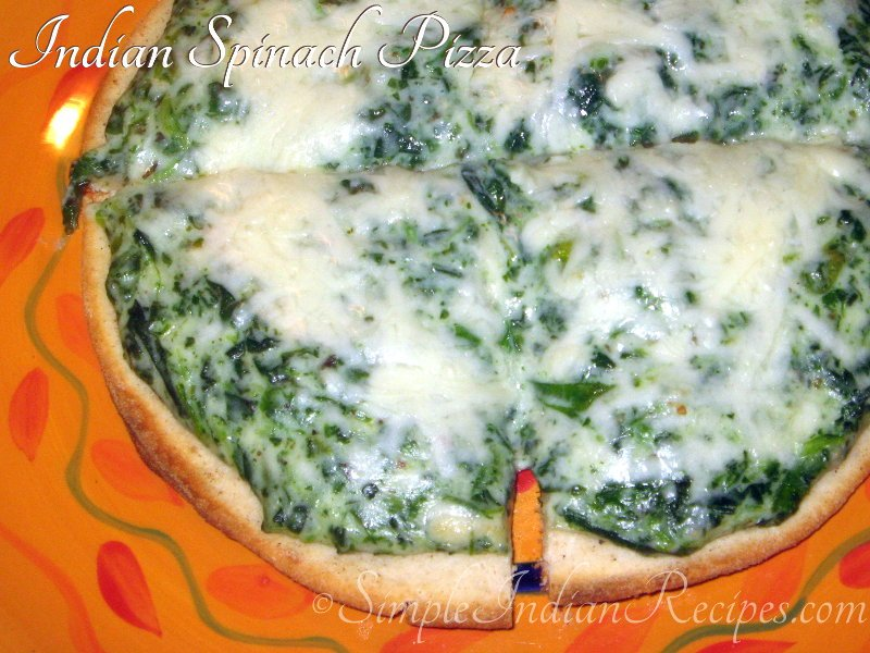 Spinach Pizza With Naan