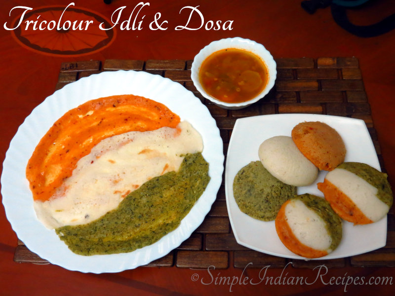 Tricolour Idli and Dosa
