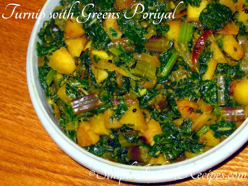 Turnip with turnip greens poriyal
