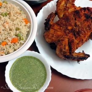 Whole Tandoori Chicken, Mixed vegetable Pulav & Mint Chutney