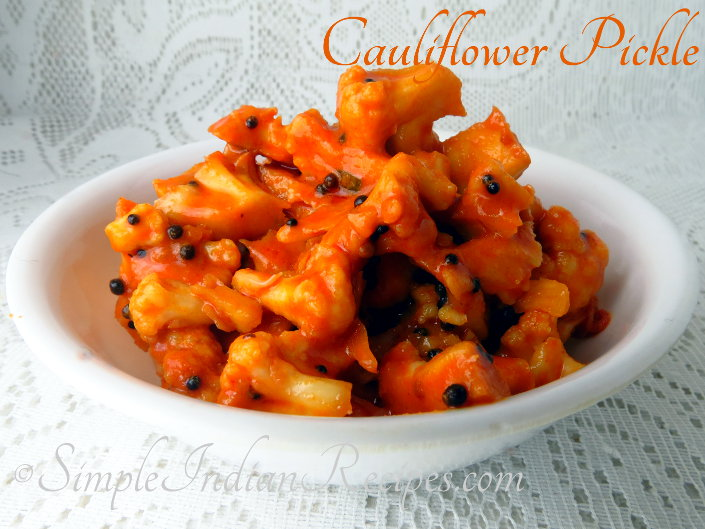cauliflower pickle (cauliflower avakaya) | pickle recipes