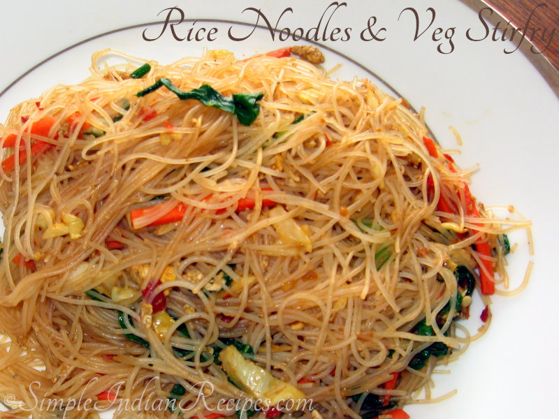 rice noodles and vegetables stir-fry