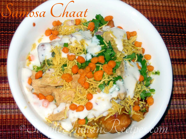 Samosa chaat simple indian recipes samosa chaat forumfinder Image collections