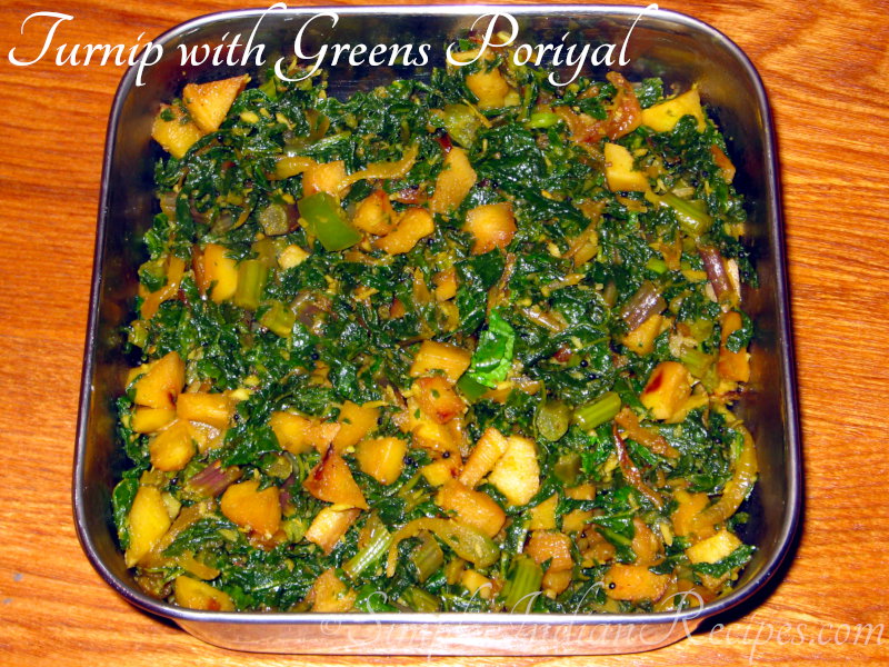 Turnip with Turnip Greens PoriyalGreen Turnip Recipe